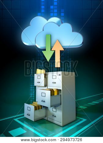 Synchronizing local files with a cloud storage solution. 3D illustration.