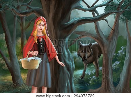 Red riding hood and the wolf. Digital illustration.