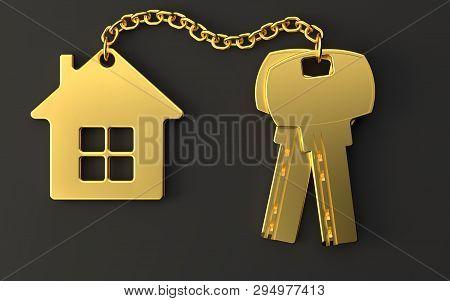 Gold House Keys With Gold Trinket House On Black Background. New Home Concept. Real Estate. 3d Rende
