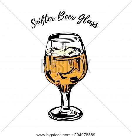 Full Beer Stemmed Snifter Glass Of Pale Lager Of Pils Isolated On White Background. Vector Hand Draw