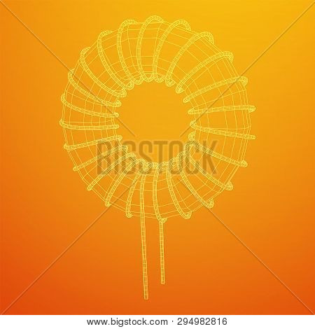 Toroidal Coil Inductor Wireframe Low Poly Mesh Vector Illustration