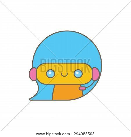 Cute Chatbot Character Or Intelligent Assistant With Speech Bubble Isolated On White Background. Vec