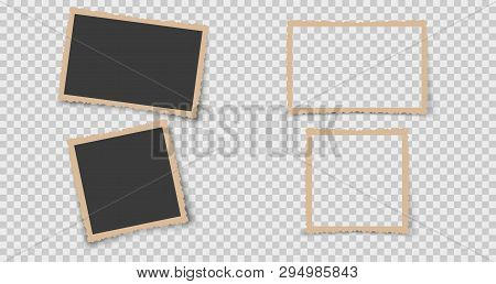 Set Of Vintage Photo Frame With Retro Figured Edges On Transparent Background. Old Photo Card Icon.