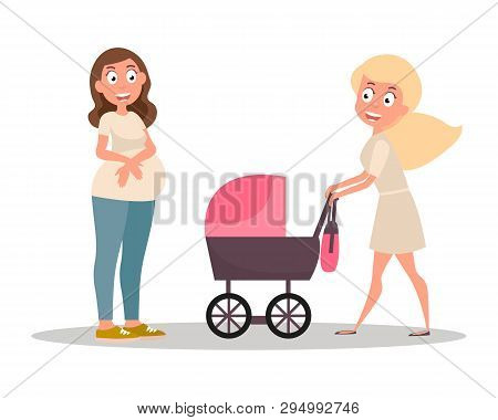 Group Of Women. Mom Pushing Her Baby In A Stroller. Young Woman With Little Baby On The Walk. Vector