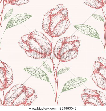 Delicate Vintage Hand Drawn Green And Red Spring Flower Bouquets Seamless Half Drop Pattern On Cream