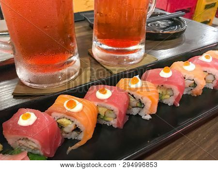Sushi Salmon And Prawn Roll With Cream Cheese, Sushi Menu Japanese Food