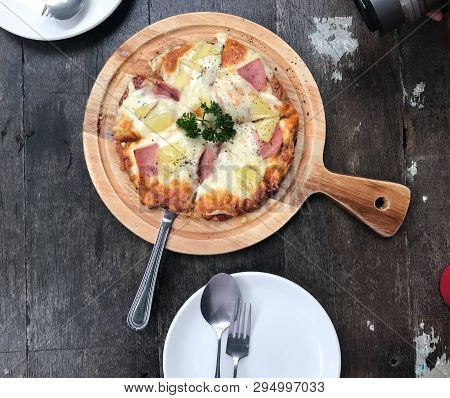 Mozzarella Cheese Pizza Slice Tasty Delicious On The Table In Dinner