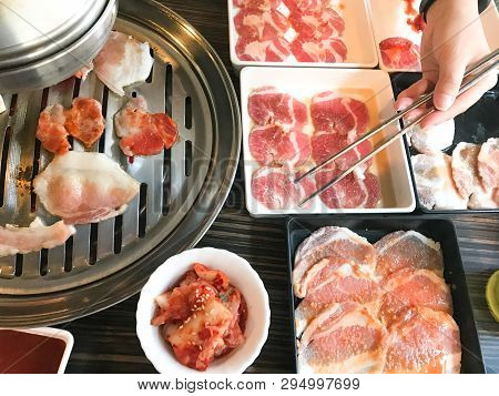 Pork And Beef Barbecue Grill Buffet With Chopsticks
