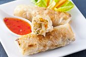 spring rolls with sweet sour souce poster