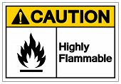 Caution Highly Flammable Symbol Sign, Vector Illustration, Isolate On White Background Label .EPS10 poster