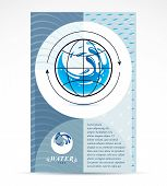 Water delivery business corporative flyer template. Graphic vector illustration. Global water circulation conceptual design, blue planet. poster