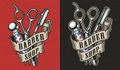 Vintage barbershop colorful label with ribbon around barber pole straight razor and scissors isolated vector illustration poster