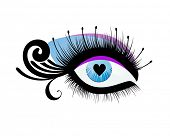 Beautiful eye with heart as pupil (use with or without lashes with circles) poster