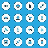 User icons colored set with microphone, feed, undo and other url elements. Isolated vector illustration user icons. poster