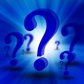 3d question marks on a dark blue background poster