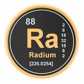 Radium Ra chemical element. 3D rendering isolated on white background poster