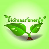 green bio biomass energy illustration as background poster