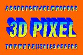 3D pixel alphabet font. Digital pixel letters and numbers. 80s arcade video game typescript. poster