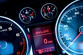 Close up of car dashboard on sports car poster