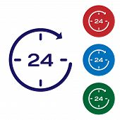 Blue Clock 24 hours icon isolated on white background. All day cyclic icon. 24 hours service symbol. Set color icon in circle buttons. Vector Illustration poster