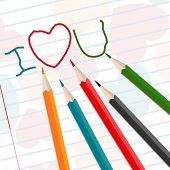 Hand-drawn i love u messages on notebook paper with colorful pencils for Valentines Day and other occasions. poster