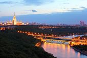 Luzhnetsky metro bridge, Moscow State University, panorama of Moscow, Russia poster