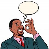 OK african man businessman. hand gesture okay. success good. Pop art retro vector illustration vintage kitsch 50s 60s poster