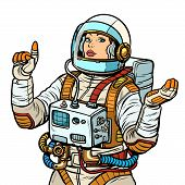woman astronaut, space exploration isolate on white background. Pop art retro vector illustration vintage kitsch 50s 60s poster