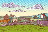 rural landscape green field village houses. Pop art retro vector illustration vintage kitsch 50s 60s poster