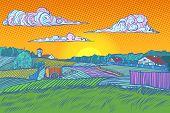 rural landscape evening sunset. Pop art retro vector illustration vintage kitsch 50s 60s poster
