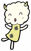 cute magic cloud head girl (raster version) poster