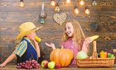 Held responsible for daily farm chores. Kids farmers girl boy vegetables harvest. Family farm. Children presenting farm harvest wooden background. Reasons why every child should experience farming poster