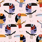 Textured toucan collage bird seamless repeat pattern. Avian jungle design for trendy fashion poster