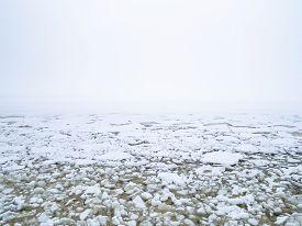 Drift Ice In Sea With Helsinki, Finland