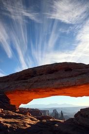 Mesa Arch sunrise glow