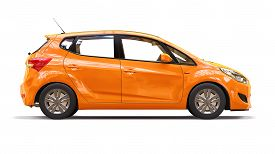 Orange City Car With Blank Surface For Your Creative Design. 3d Rendering.