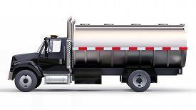 Large Black Truck Tanker With A Polished Metal Trailer. Views From All Sides. 3d Illustration.