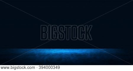 Empty Space Of Concrete Floor Grunge Texture Background With Blue Spotlight Effect.