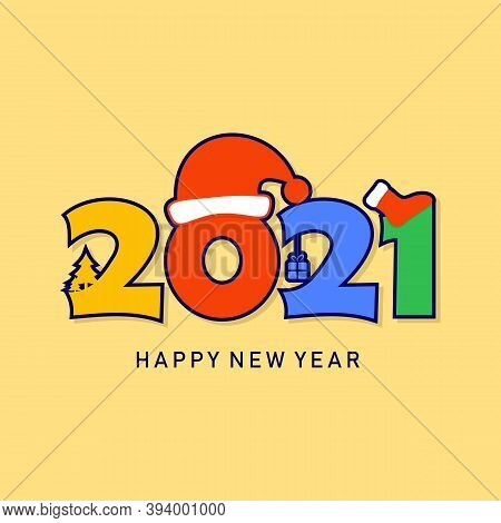 New Year 2021 And Merry Christmas. Happy New Year 2021 Vector. Number 2021 In The Modern Concept. 20