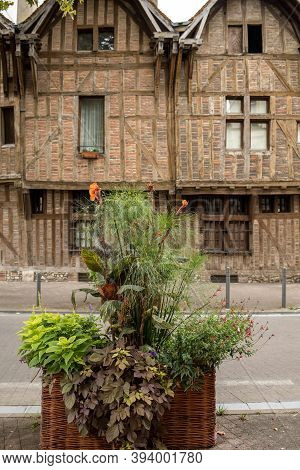 Ancient Half-timbered Buildings In Troyes. Aube, Champagne-ardenne, France