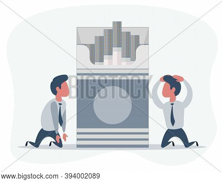 People Are Kneel Beside The Open Cigarettes Pack Box. Flat Style Illustration Isolated On A Backgrou
