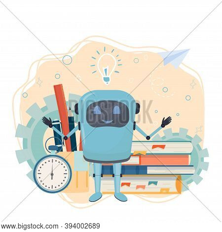 Work Place For Online Courses, E-learning, Education With Books, Alarm, Monitor With Robot Isolated