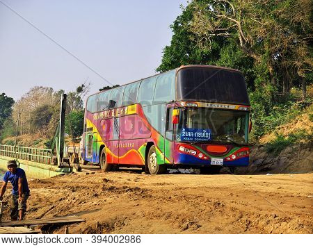 Mekong, Laos - 29 Feb 2012: The Bus On Mekong River, Champassak, Laos