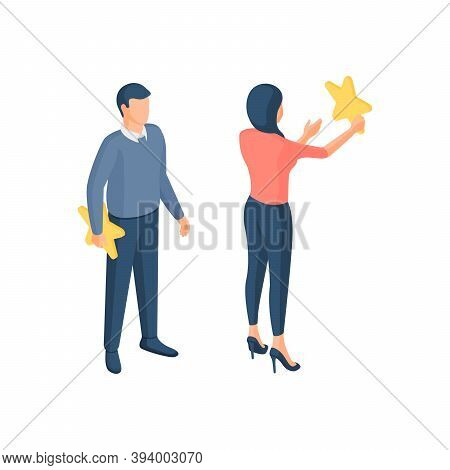 People Increase Online Rating Isometric Vector Illustration. Male And Female Characters Hang And Rei