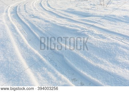 Country Road On Snow, Car Tire Tracks On White Winter Snow Field, Perspective View, White Winter Lan