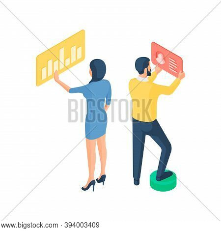 Programmers Customize Website Performance Isometric Vector Illustration. Female And Male Characters