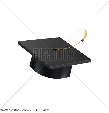 Realistic Graduate Academic Composition With Isolated Image Of Square Academic Cap On Blank Backgrou