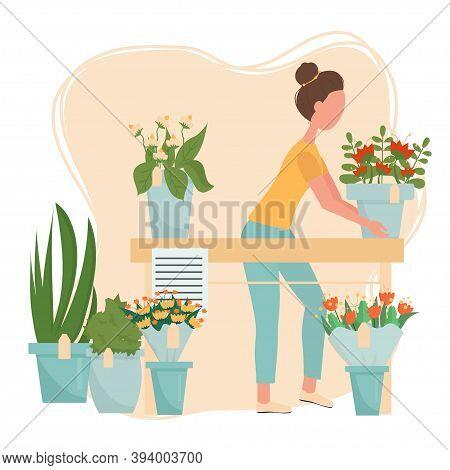 Florist Service, Flower Shop Concept, Web Banner, Template Stock Vector Illustration. Woman Florists