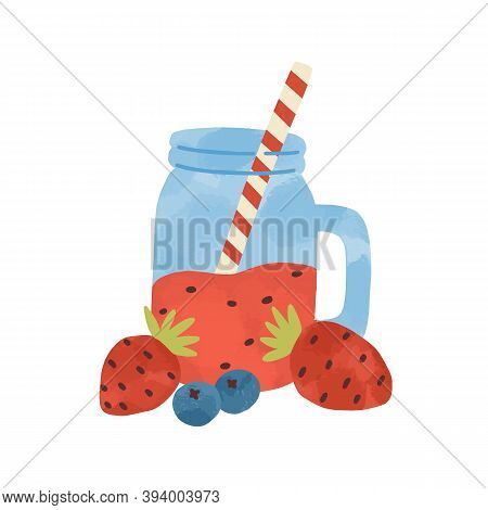 Flat Vector Simple Cartoon Illustration Of Healthy Beverage With Strawberry And Blueberry. Tasty Smo