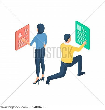Specialists Optimize And Customize Search Site Isometric Vector Illustration. Male And Female Charac